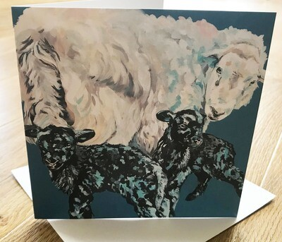 'La'al Twins' Herdwick Ewe & Lambs - Blank Greetings Card