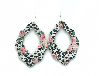 ROSES AND WHITE LEOPARD CORK LEATHER SCALLOPED EARRINGS