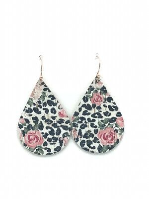 ROSES AND WHITE LEOPARD CORK LEATHER TEARDROP EARRINGS