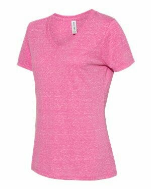 JERZEES - Women's Snow Heather Jersey V-Neck  (Screen Print- FRONT/BACK)