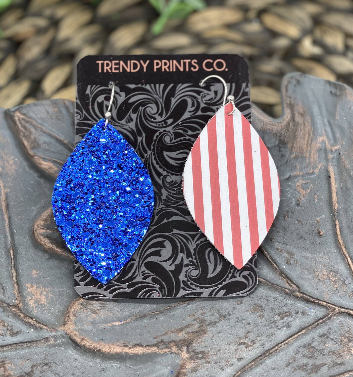 BLUE GLITTER AND RED STRIPES LEAF CUT LEATHER EARRINGS