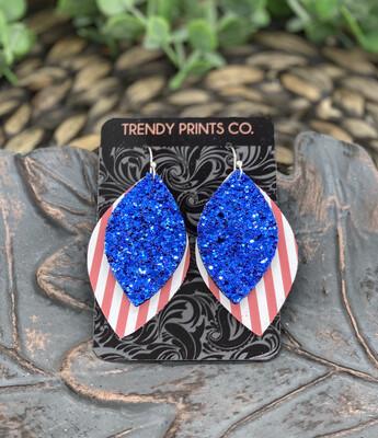 BLUE GLITTER ON RED STRIPES LEAF CUT LEATHER EARRINGS