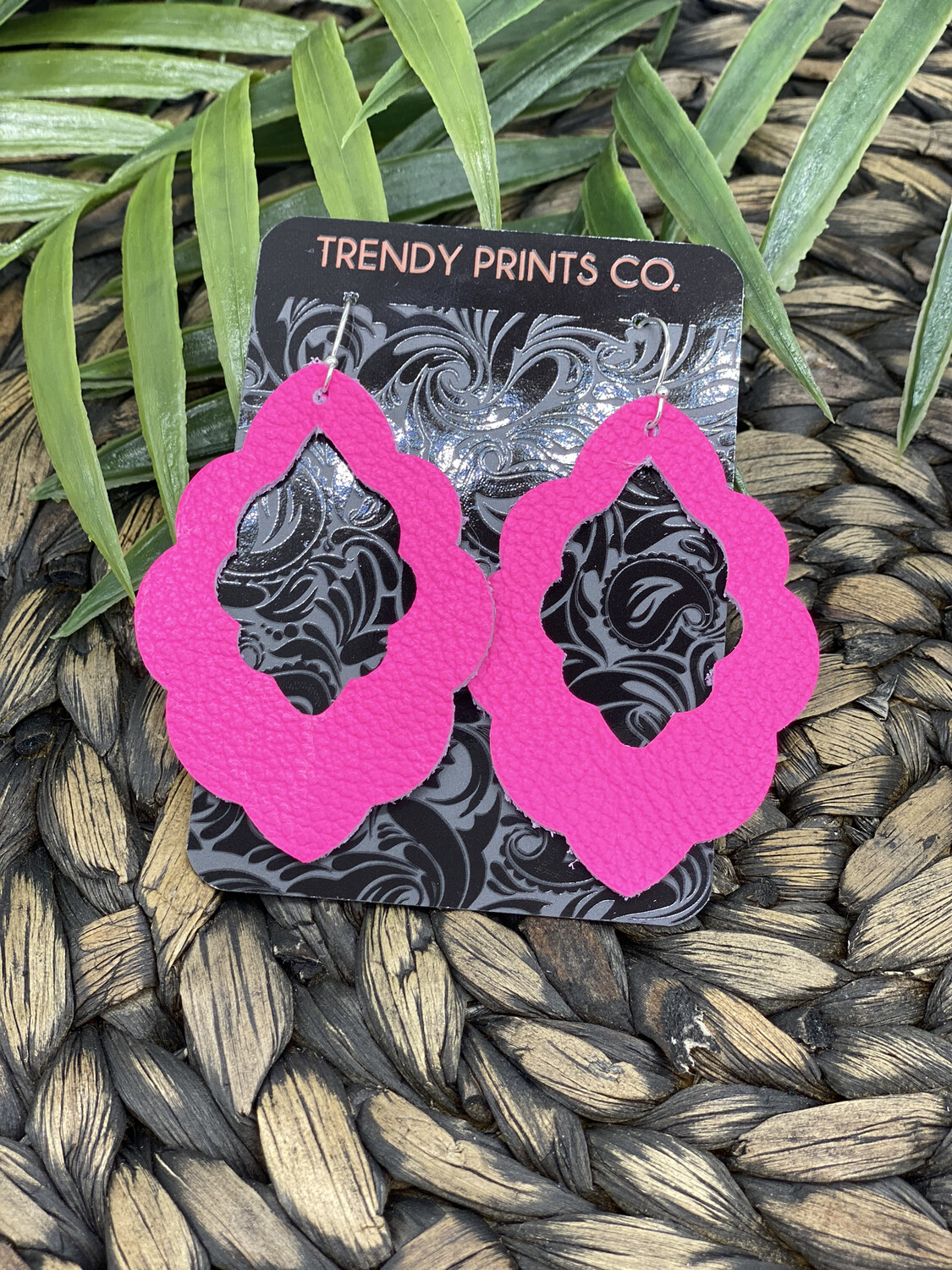NEON PINK LEATHER SCALLOPED EARRINGS