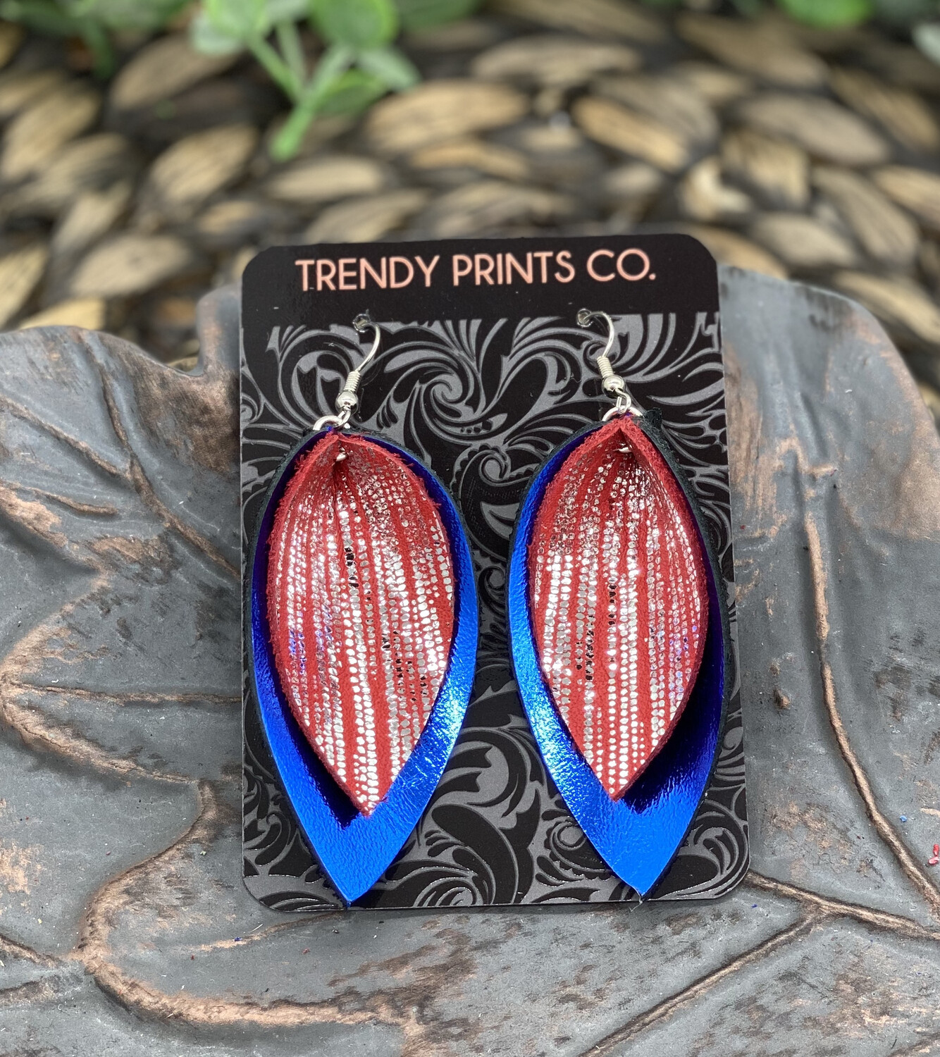 METALLIC RED/SILVER ON BLUE PINCHED LEAF LEATHER EARRINGS
