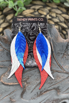 METALLIC RED SILVER AND BLUE FEATHER LEATHER EARRINGS