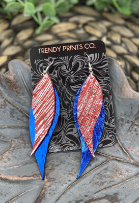 RED/SILVER STRIPES AND BLUE FEATHER LEATHER EARRINGS