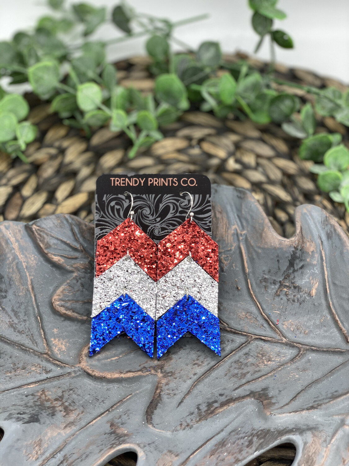 RED WHITE AND BLUE GLITTER ARROW EARRINGS