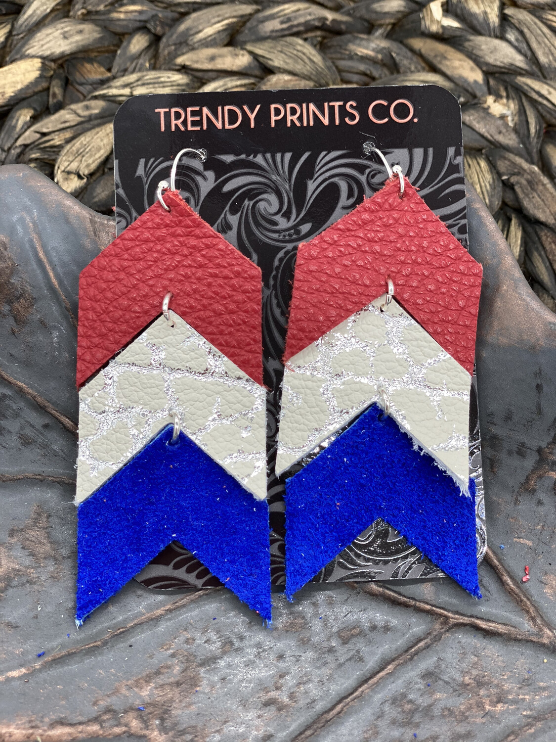 RED WHITE/SILVER AND BLUE ARROW EARRINGS