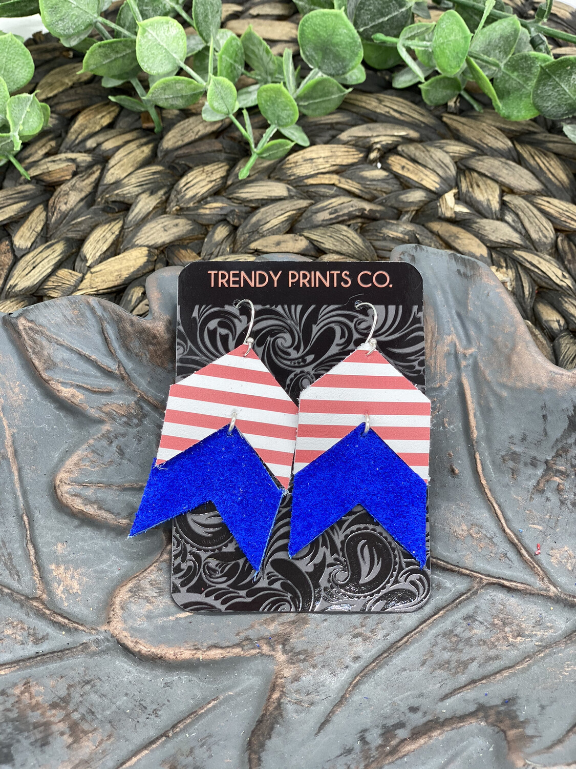 RED WHITE STRIPES AND BLUE ARROW EARRINGS