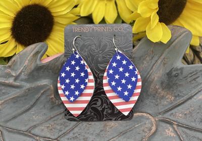 AMERICAN FLAG LEAF CUT LEATHER EARRINGS
