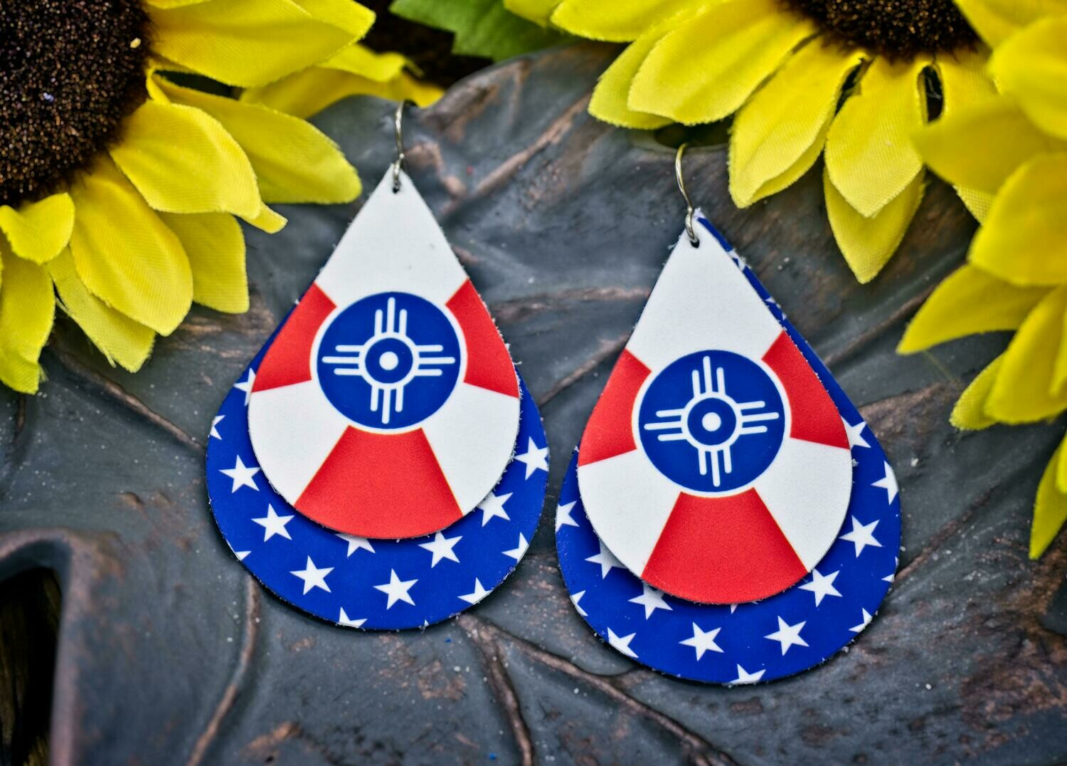 ICT Flag and Stars Leather Earrings