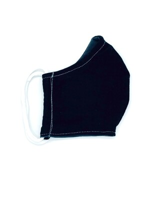 YOUTH COTTON FACE MASK-BLACK (This fabric is NOT antimicrobial material.)