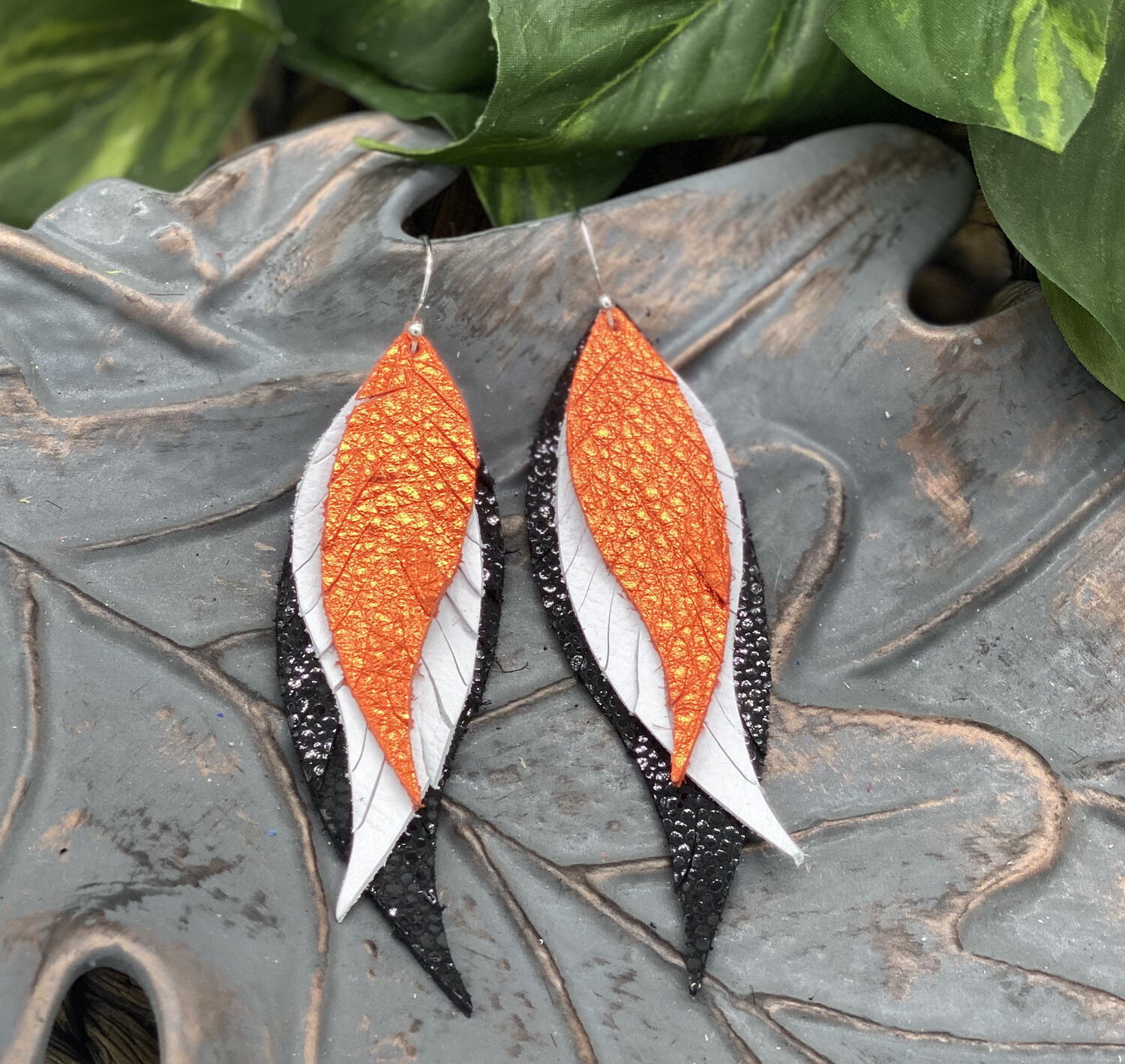 BLACK, WHITE AND ORANGE FEATHER LEATHER EARRINGS