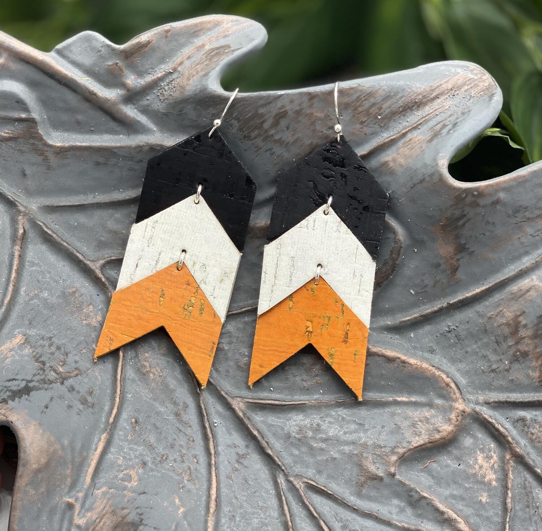BLACK, WHITE AND ORANGE CHEVRON CORK/ LEATHER EARRINGS