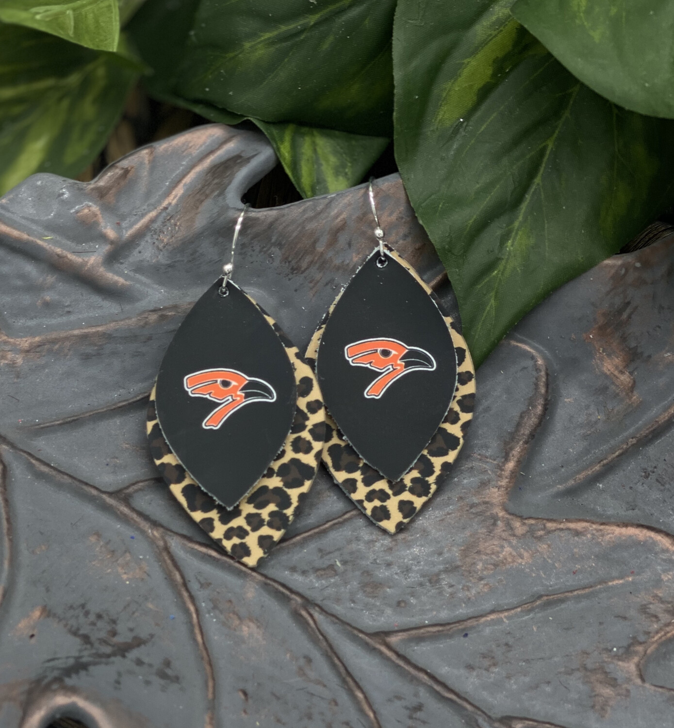 AUGUSTA ORIOLE  LEOPARD LEAF LEATHER EARRINGS