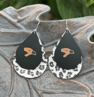 AUGUSTA ORIOLE  WHITE LEOPARD TEARDROP LEATHER EARRINGS