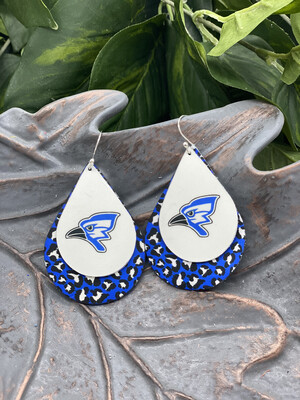 AUGUSTA BLUEJAY  BLUE LEOPARD TEARDROP LEATHER EARRINGS