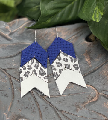 BLUE, WHITE LEOPARD  CHEVRON CORK/ LEATHER EARRINGS