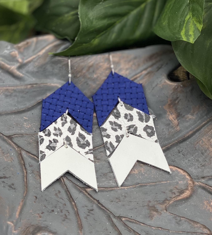 BLUE, WHITE LEOPARD  CHEVRON CORK/ LEATHER EARRINGS