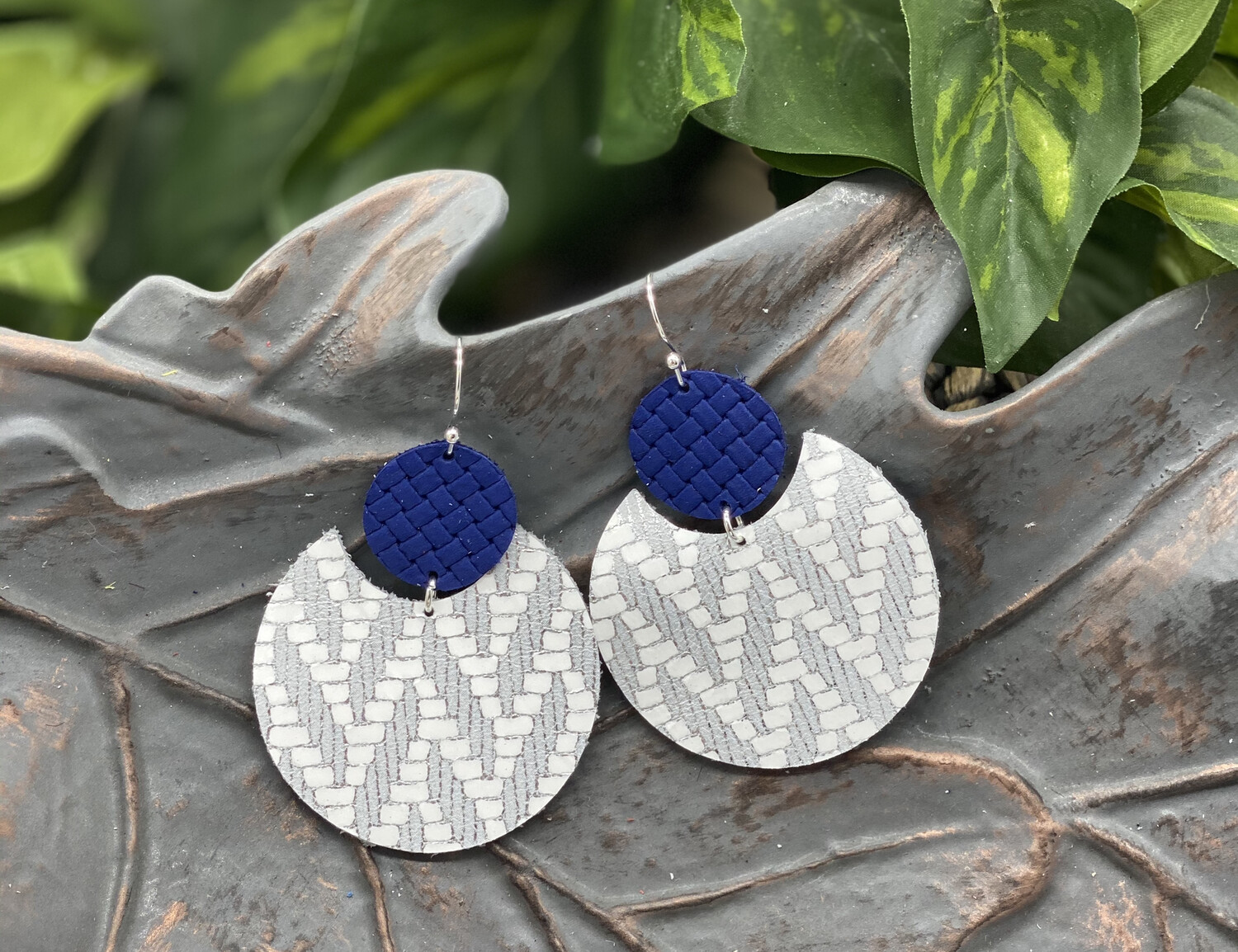 BLUE LEOPARD ECLIPSE CORK/LEATHER EARRINGS