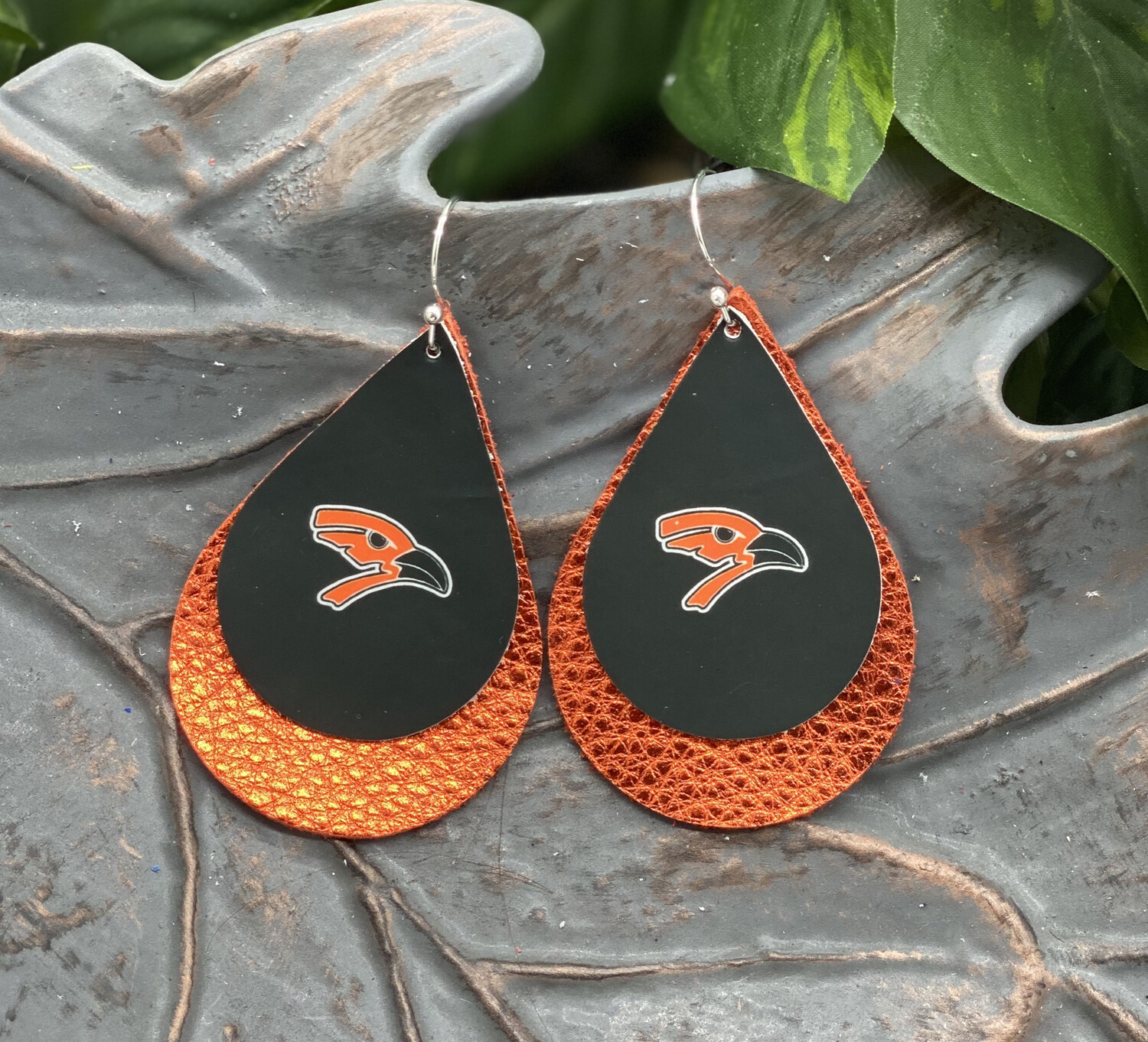 AUGUSTA ORIOLE  TEARDROP LEATHER EARRINGS