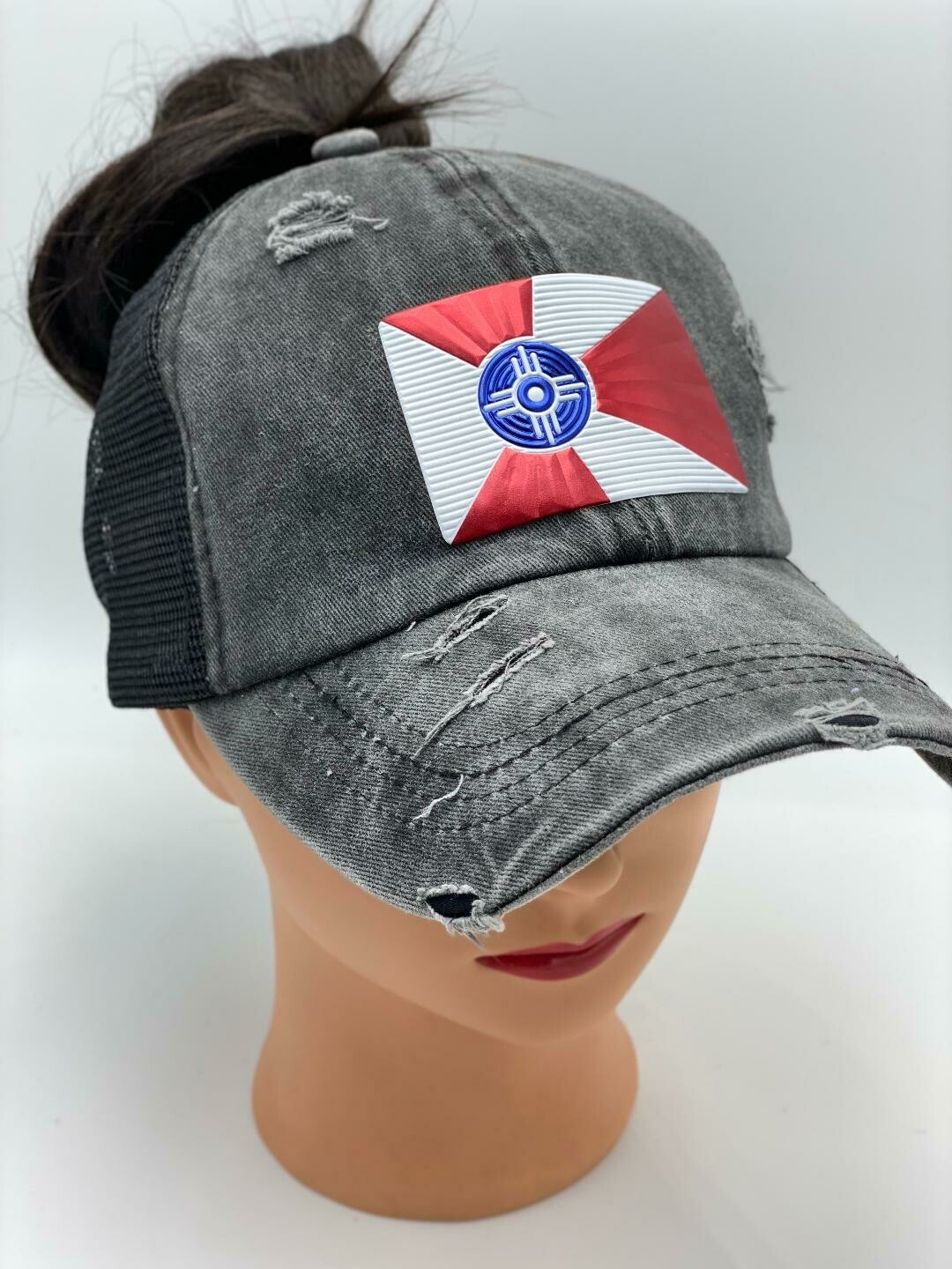 Wichita Flag Vintage Messy High Bun Ponytail Mesh Baseball Cap Washed Cotton Trucker Cap