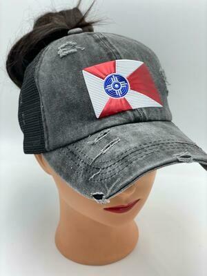 Wichita Flag Vintage Messy High Bun Ponytail Mesh Baseball Cap Washed Cotton Trucker Cap