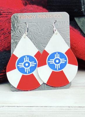 WICHITA FLAG LEATHER TEARDROP EARRINGS