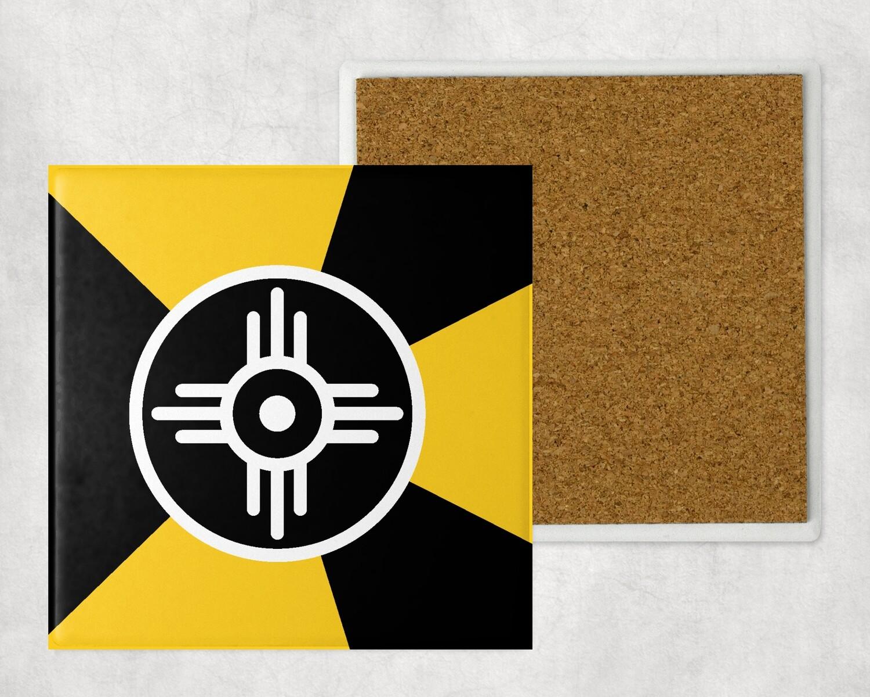 BLACK AND YELLOW WICHITA FLAG SANDSTONE COASTER