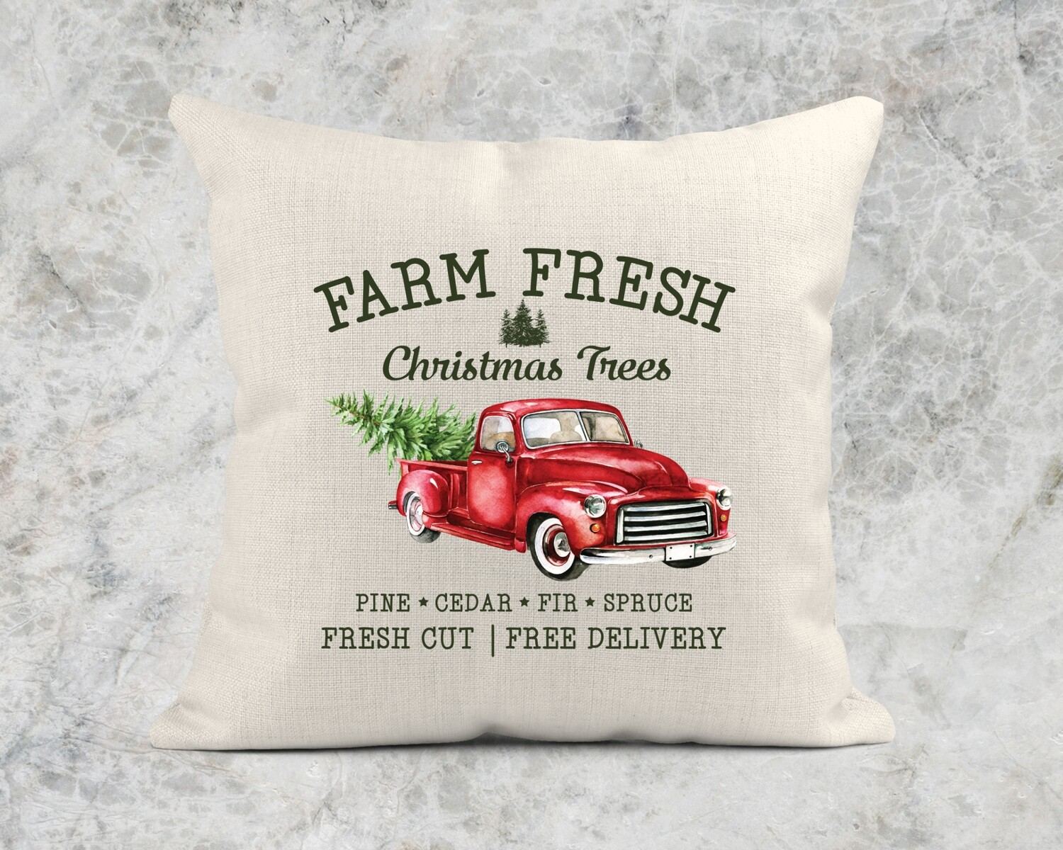 FARM FRESH CHRISTMAS TREES TRUCK PILLOW