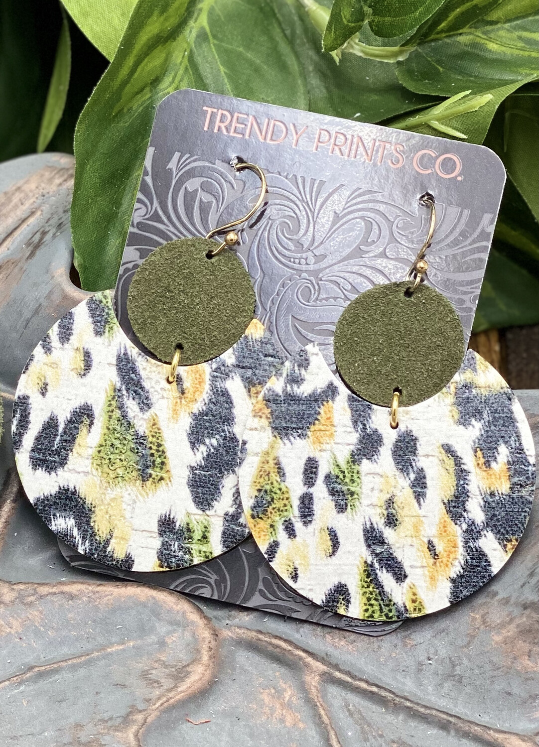 FOREST LEOPARD ECLIPSE CORK/LEATHER EARRINGS