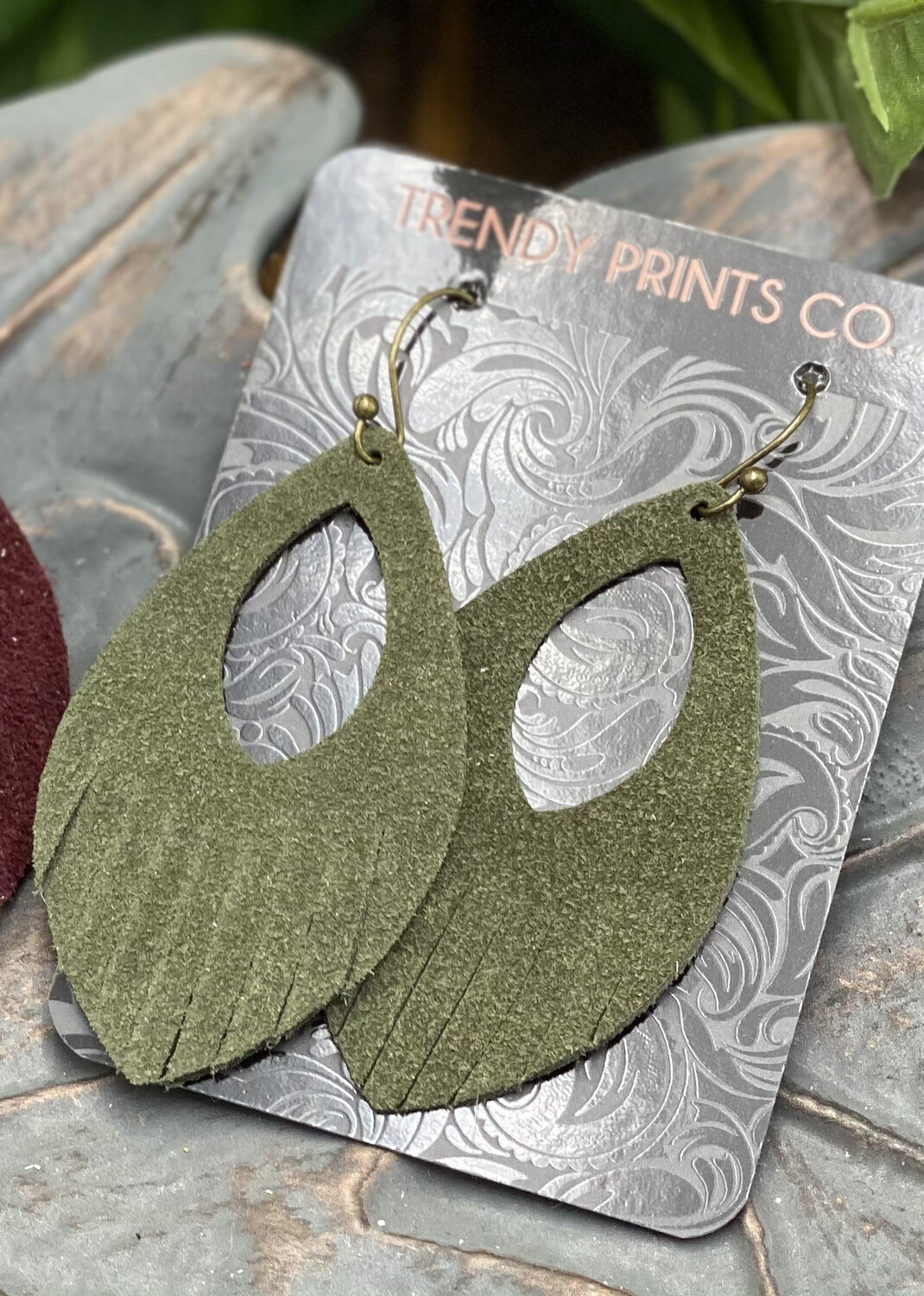 SAGE GREEN SUEDE FRINGE LEATHER EARRINGS