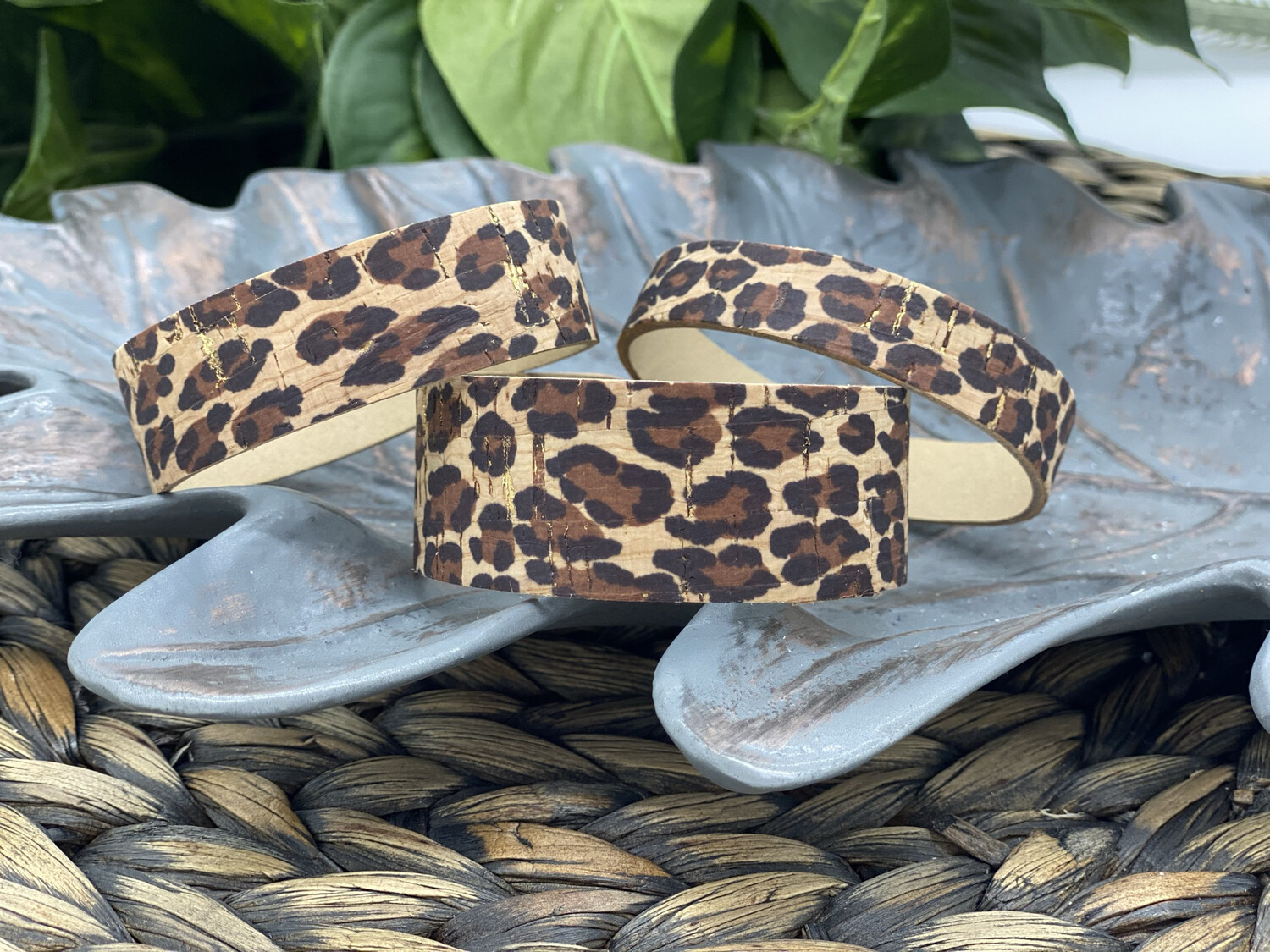 LEOPARD WITH GOLD ACCENTS CORK LEATHER BRACELET