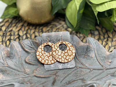 ROSE GOLD LEOPARD ON TOAST SUEDE CIRCLE CUT OUT LEATHER EARRINGS