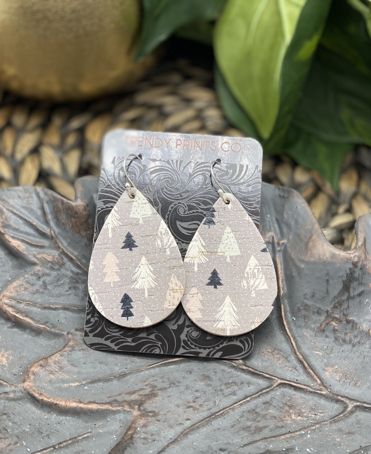 HOLIDAY TREES CORK LEATHER TEARDROP EARRINGS