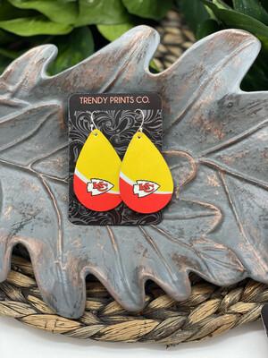CHIEFS YELLOW/RED LEATHER TEARDROP EARRINGS