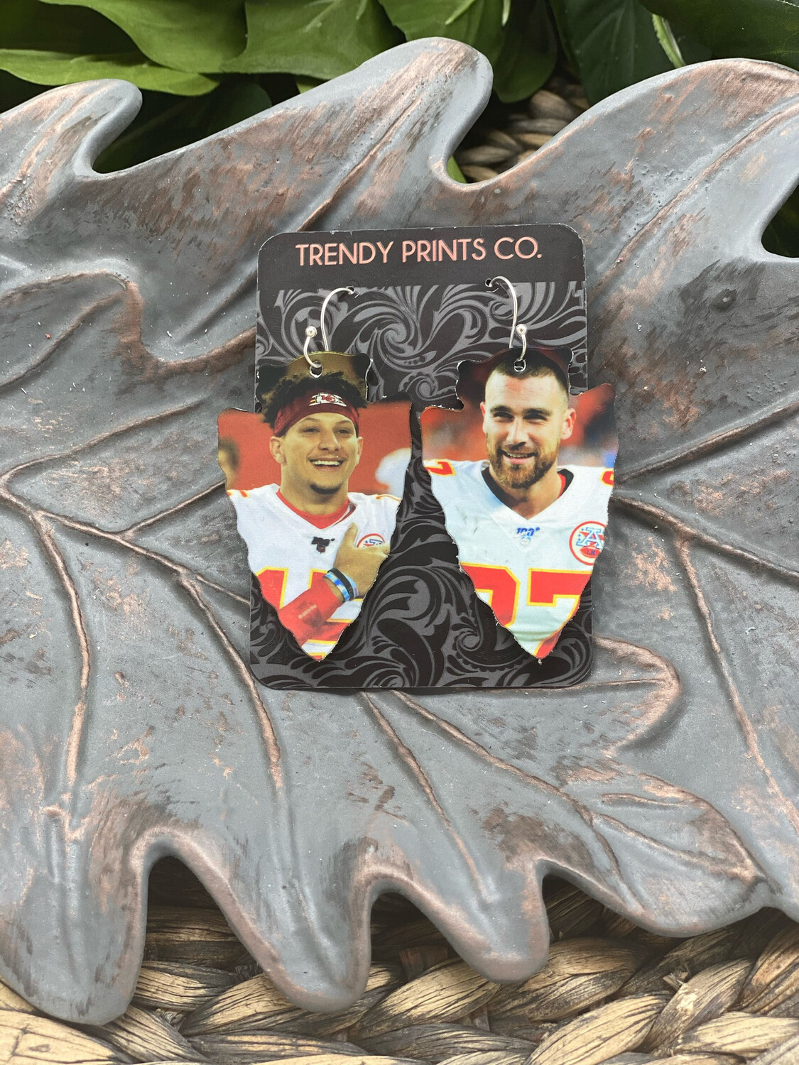 CHIEFS PHOTO ARROWHEAD LEATHER EARRINGS
