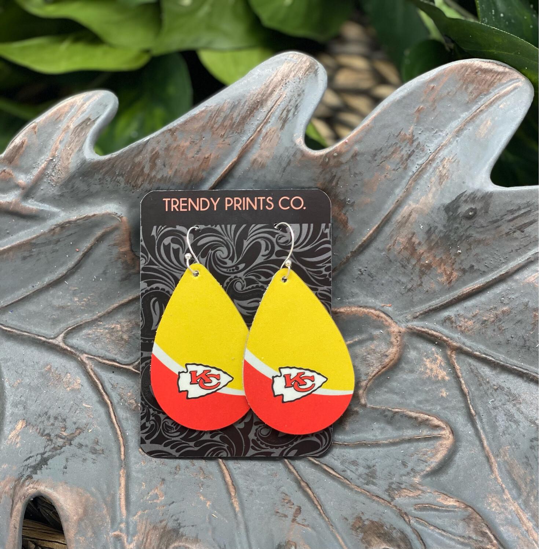 CHIEFS YELLOW/RED TEARDROP LEATHER EARRINGS
