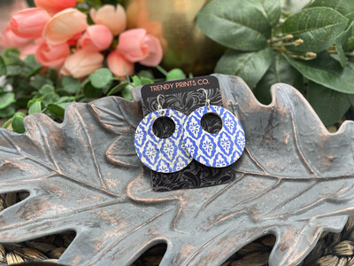 TURKISH DIAMOND TILE CIRCLE CUT OUT CORK/LEATHER EARRINGS