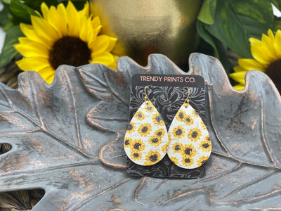 SUNFLOWERS ON WHITE CORK/LEATHER EARRINGS