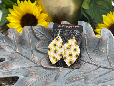 SUNFLOWERS ON WHITE LEAF CORK/LEATHER EARRINGS