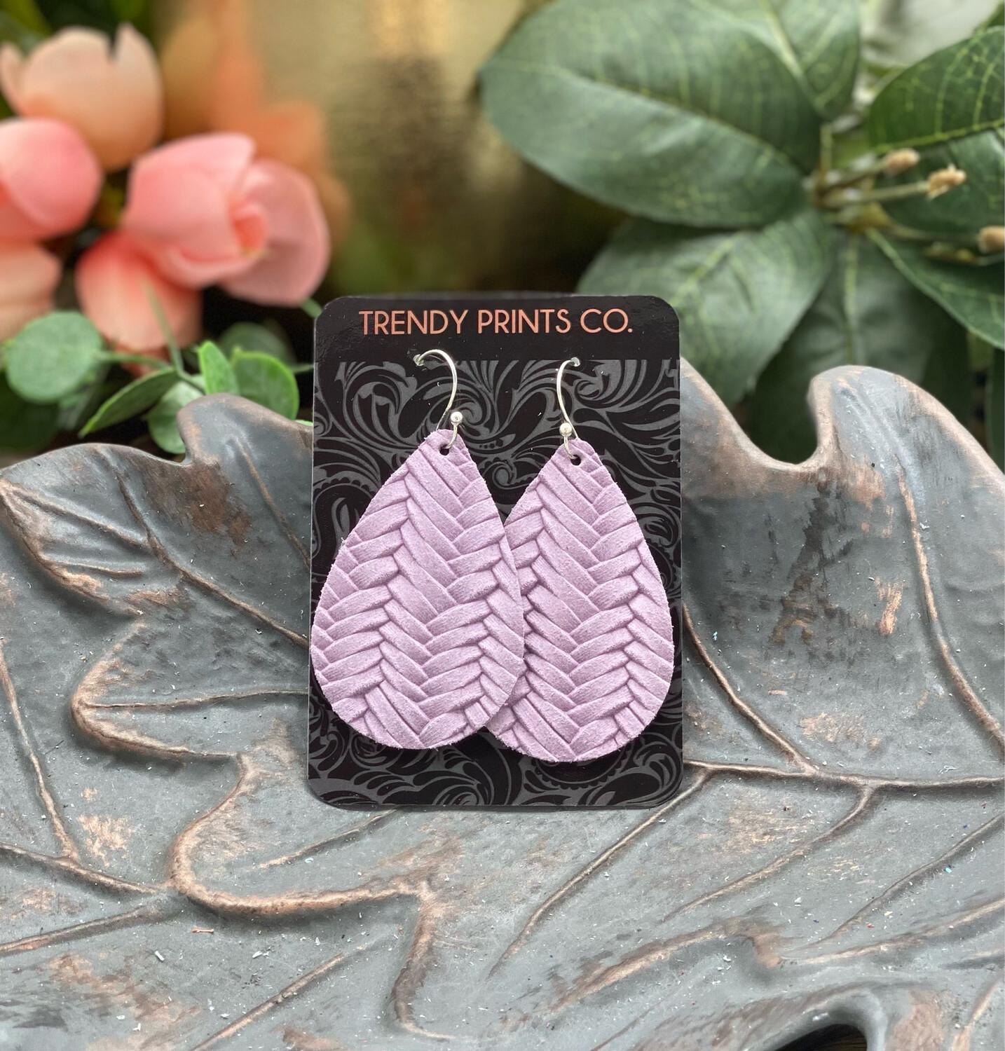 ORCHID FISHTAIL TEARDROP LEATHER EARRINGS