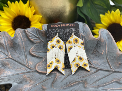 SUNFLOWERS ON WHITE ARROW CORK/LEATHER EARRINGS