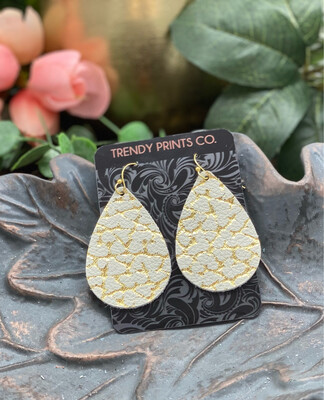 CRACKED GOLD ON IVORY POINTED TEARDROP LEATHER EARRINGS