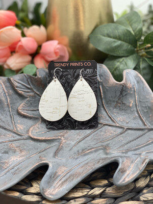 WHITE CORK/LEATHER TEARDROP EARRINGS