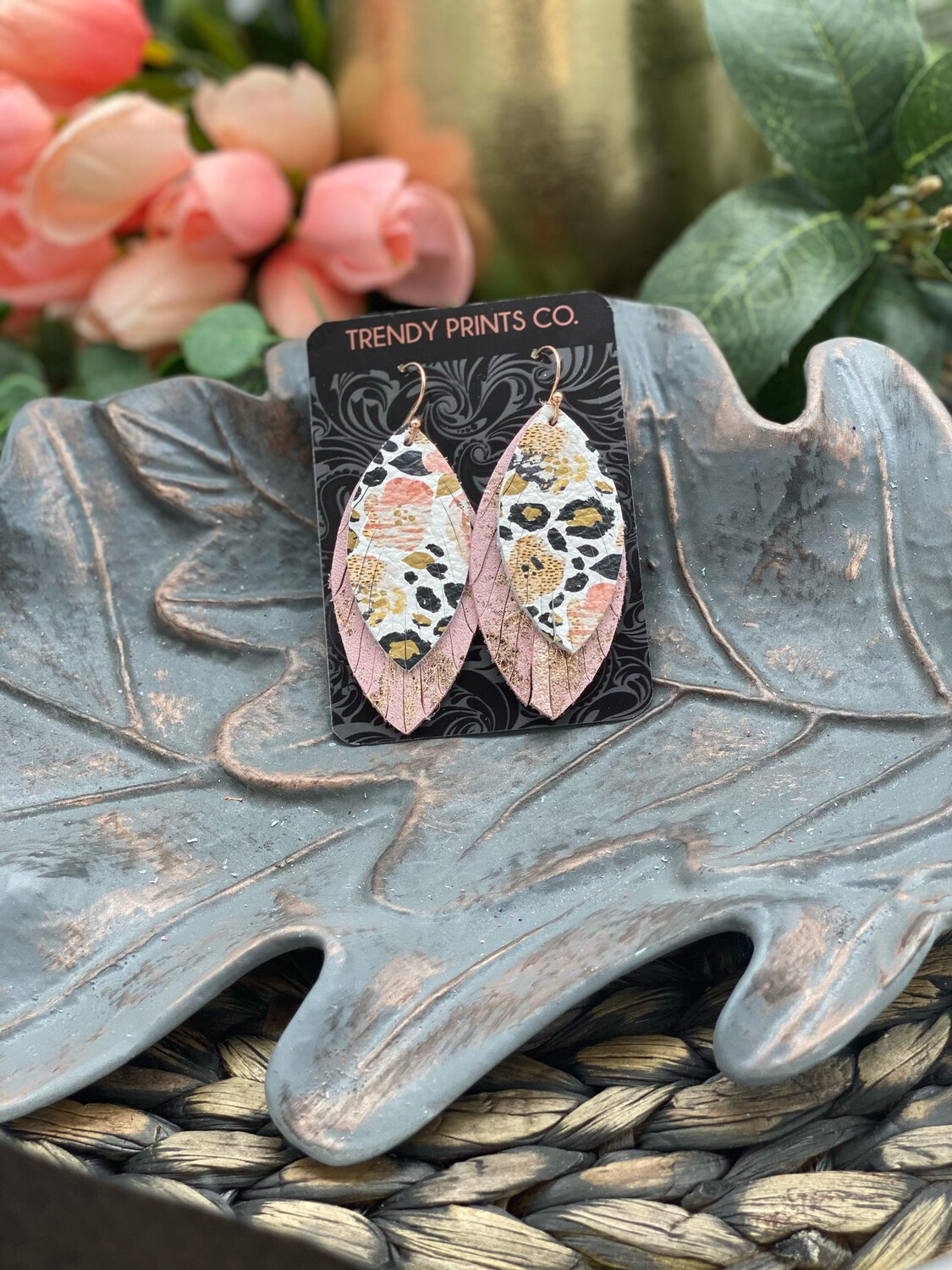 WATERCOLOR PANSIES/LEOPARD FEATHER LEATHER EARRINGS