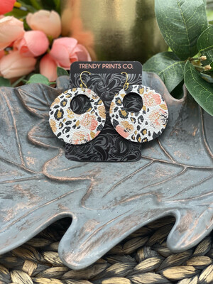 WATERCOLOR PANSIES/LEOPARD CIRCLE CUT OUT LEATHER EARRINGS