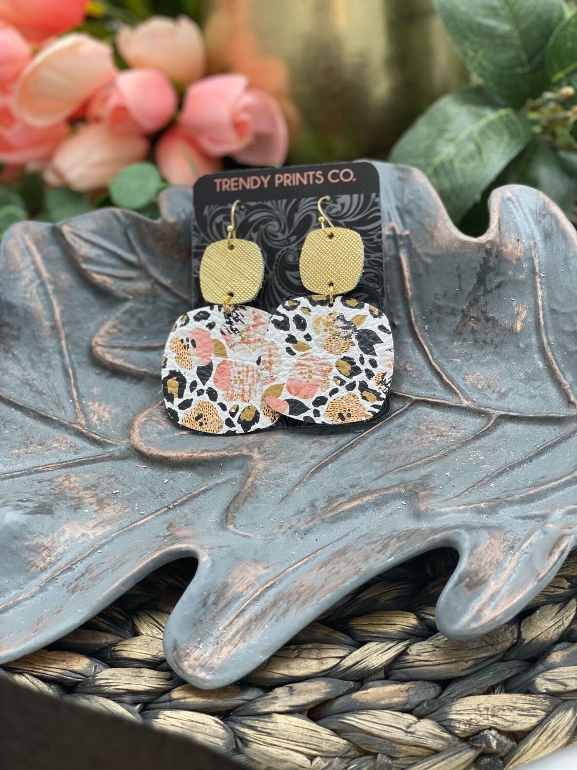 WATERCOLOR PANSIES/LEOPARD GEOMETRIC LEATHER EARRINGS