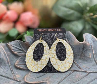 CRACKED GOLD ON IVORY OVAL CUT OUT LEATHER EARRINGS