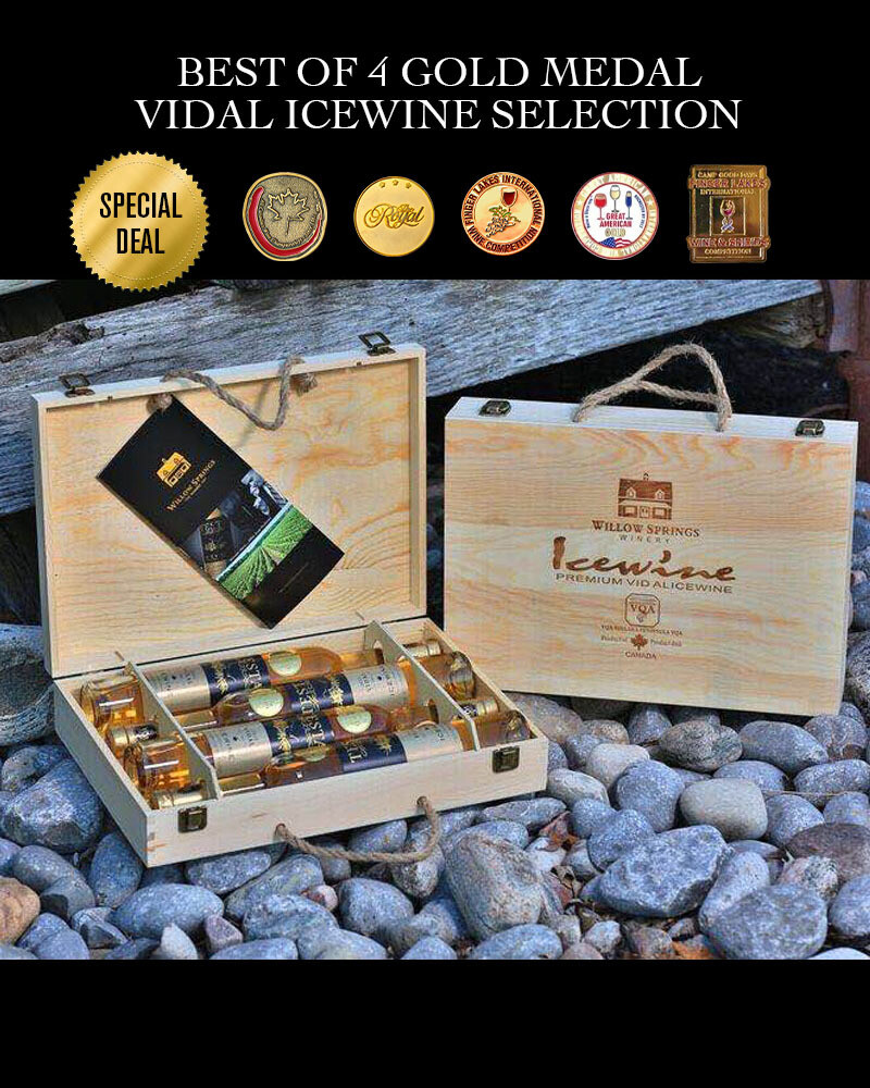 Willow Springs Winery Best of 4 Gold Medal Vidal Icewine Selection (Wood Box) x 4 bottle / 375ml